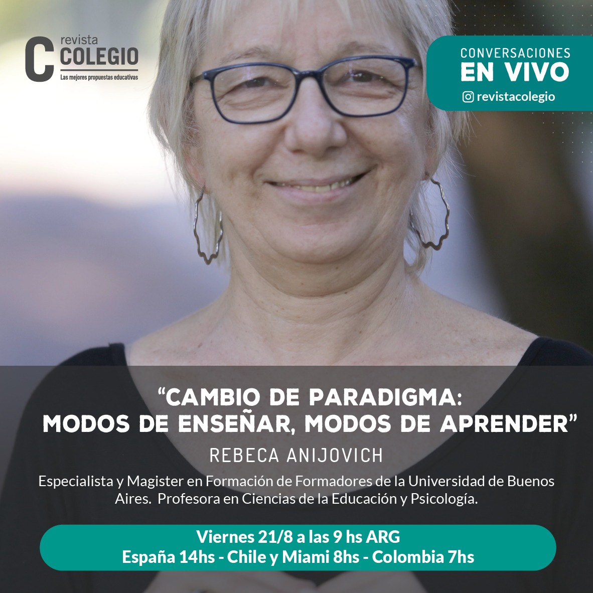 Rebeca Anijovich conversará este viernes con Revista Colegio en vivo por Instagram